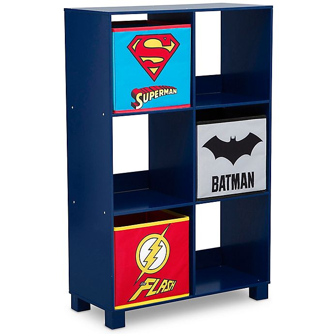 Alternate image 1 for DC Comics Justice League 6-Cubby Deluxe Storage Unit in Blue
