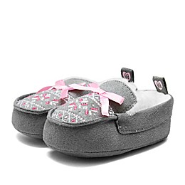Stepping Stones Faux Suede and Fur Moccasins in Grey