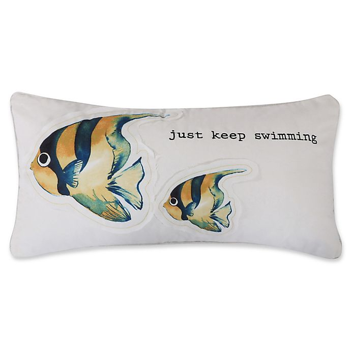 Alternate image 1 for Levtex Home Lagos Keep Swimming Oblong Throw Pillow in White