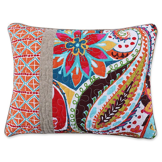 Alternate image 1 for Levtex Home Sakari Pieced Oblong Throw Pillow in White/Red