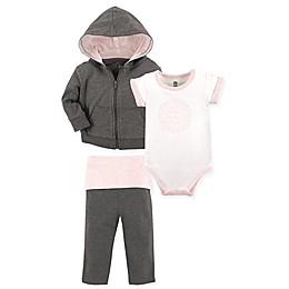 Yoga Sprout 3-Piece Scroll Hooded Jacket, Bodysuit, and Pant Set in Pink/Grey