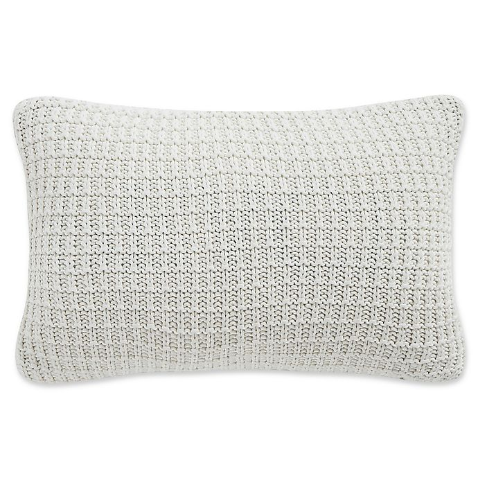Alternate image 1 for Waterford® Florence Waffle Knit Oblong Throw Pillow in Chambray