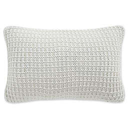 Waterford® Florence Waffle Knit Oblong Throw Pillow in Chambray