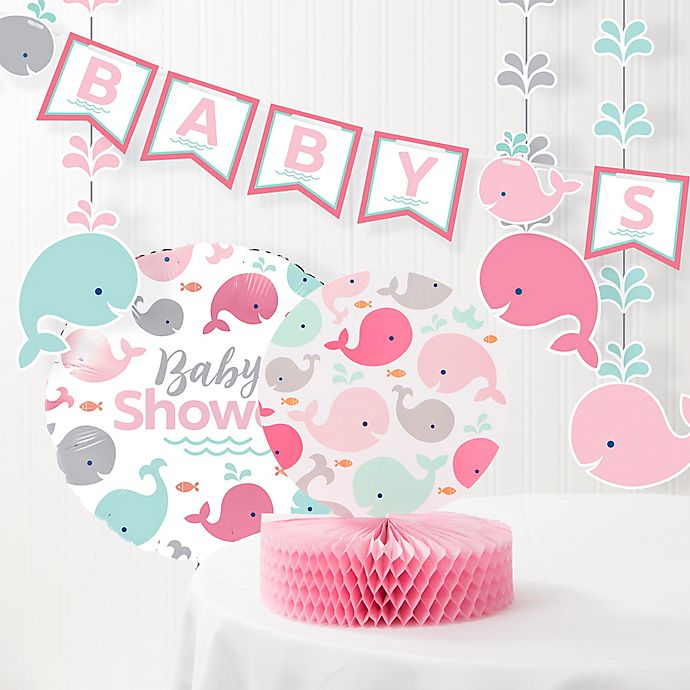 Creative Converting 6 Piece Pink Baby Whale Baby Shower Decorations