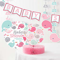 Creative Converting 6-Piece Pink Baby Whale Baby Shower Decorations Kit