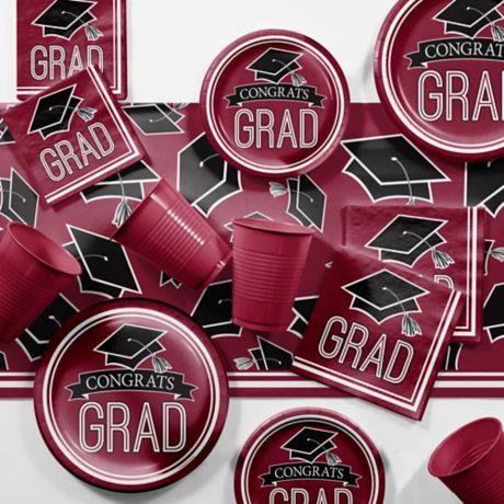 3-Pack Creative Converting Graduation Caps Confetti Burgundy