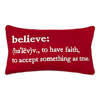 Believe Definition Rectangular Throw Pillow in Red