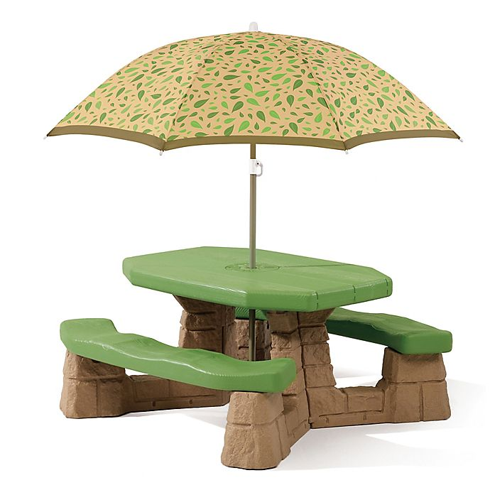Alternate image 1 for Step2® Naturally Playful Picnic Table with Umbrella in Green