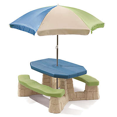 Step2® Naturally Playful Picnic Table with Umbrella in Blue