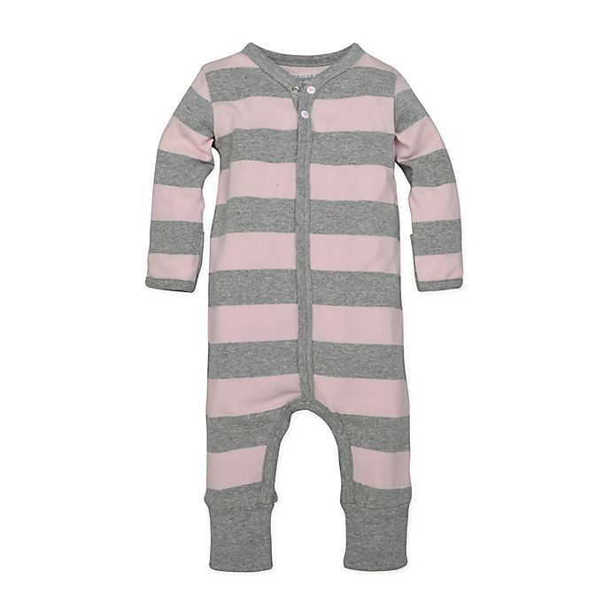 Alternate image 1 for Burt's Bees Baby® Preemie Rugby Stripe Coverall in Pink
