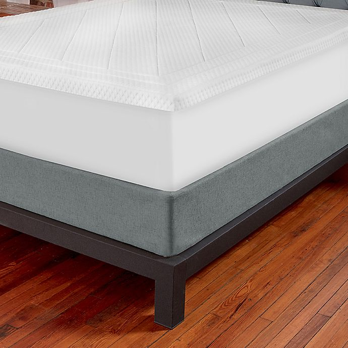 Alternate image 1 for Therapedic® Quilted Deluxe 3-Inch Memory Foam Full XL Bed Topper in White