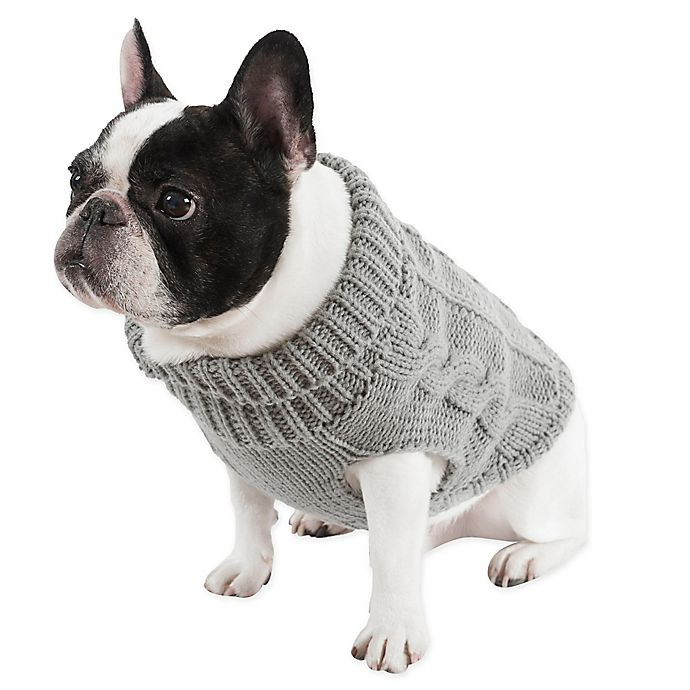 Alternate image 1 for UGG® Cable Knit Dog Sweater in Grey