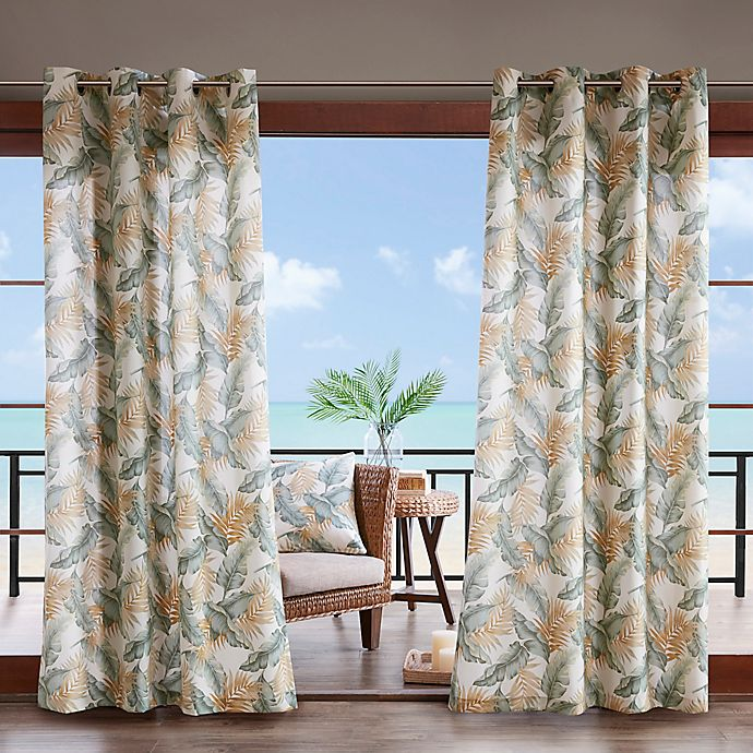 Alternate image 1 for Madison Park Coco Leaf 3M Scotchgard 84-Inch Grommet Top Outdoor Curtain Panel in Green