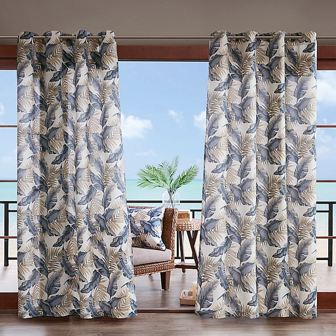 Alternate image 1 for Madison Park Coco Leaf 3M Scotchgard 84-Inch Grommet Top Outdoor Curtain Panel in Indigo