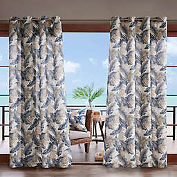 Madison Park Coco Printed Leaf 3M Scotchgard Grommet Top Outdoor Curtain Panel