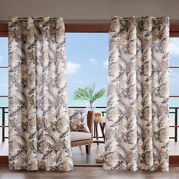 Alternate image 1 for Madison Park Coco Leaf 3M Scotchgard 84-Inch Grommet Top Outdoor Curtain Panel in Neutral