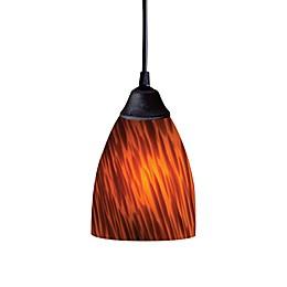 ELK Lighting 1-Light Pendant in Dark Rust with Espresso Glass