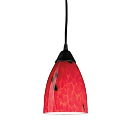 ELK Lighting 1-Light Pendant in Dark Rust with Fire Red Glass