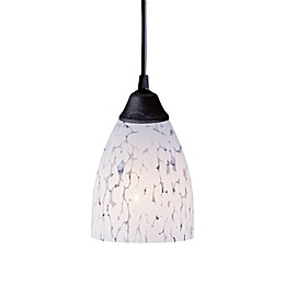 ELK Lighting 1-Light Pendant in Dark Rust with Show White Glass