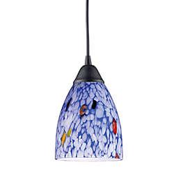 ELK Lighting 1-Light Pendant in Dark Rust with Starlight Blue Glass