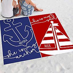Sail and Anchor Nautical Couple Beach Blanket