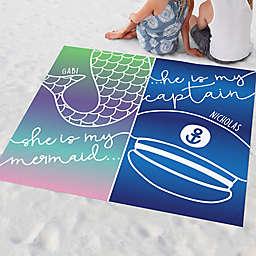 Mermaid and Captain Couple Beach Blanket
