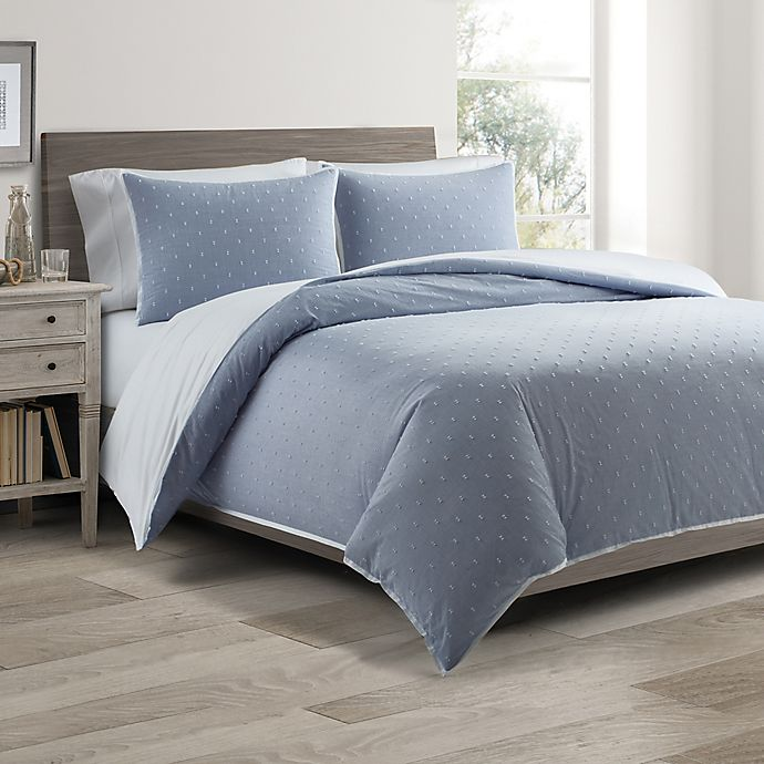 Alternate image 1 for Real Simple® DUO Clipped Jacquard Butterfly King Coverlet/Duvet Cover Set in Blue
