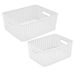 Simplify Herringbone Storage Tote in White