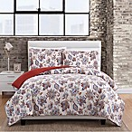 Magnolia 3-Piece King Comforter Set in White/Red