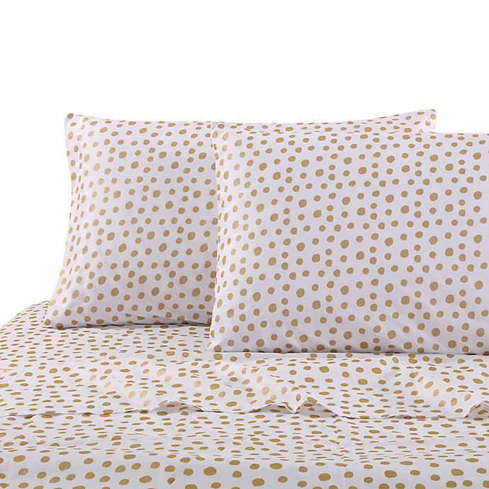 Alternate image 1 for Levtex Home Gold Dot Twin Sheet Set in White/Gold