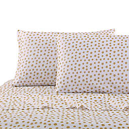 Levtex Home Gold Dot Twin Sheet Set in White/Gold