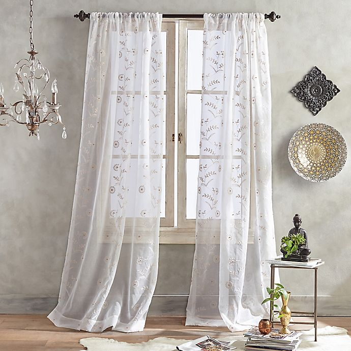 Alternate image 1 for Mila Sheer 63-Inch Pole Top Window Curtain Panel in Blush