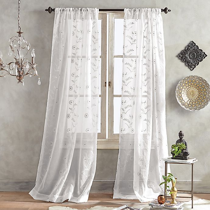 Alternate image 1 for Mila Sheer 63-Inch Pole Top Window Curtain Panel in White
