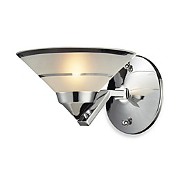 ELK Lighting Refraction 1-Light Uplight Vanity Wall Light in Polished Chrome with Etched Glass Shade