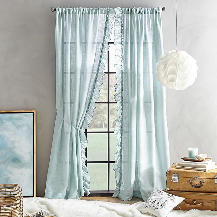 Alternate image 1 for Peri Home Sadie 95-Inch Pole Top Window Curtain Panel in Aqua