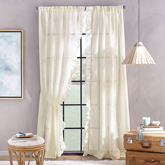 Alternate image 1 for Peri Home Sadie 63-Inch Pole Top Window Curtain Panel in Ivory