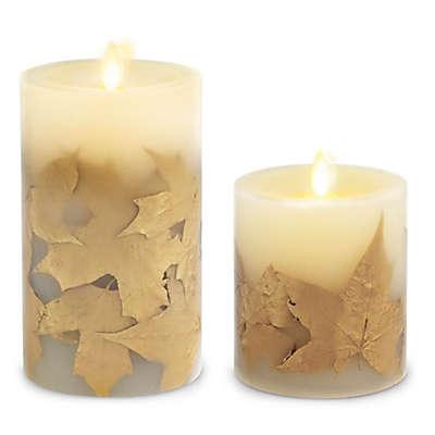 Luminara® Leaf Real-Flame Effect Pillar Candle in Gold