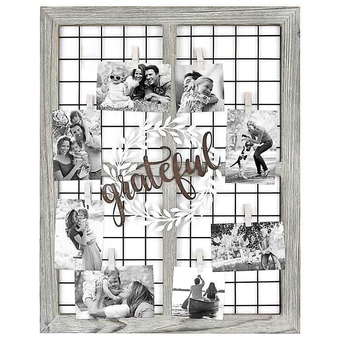 Alternate image 1 for Grateful Wreath 8-Photo Collage Frame in Brown