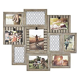 Rustic Wood 10-Photo Collage Frame in Natural