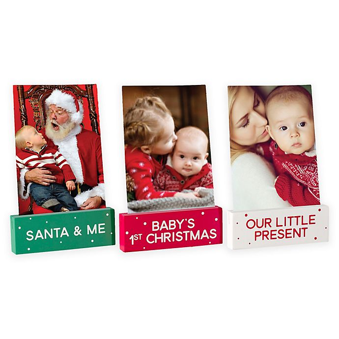 Alternate image 1 for Pearhead Baby Wooden Holiday Photo Stands (Set of 3)