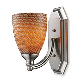 ELK Lighting 1-Light Vanity In Satin Nickel And Coco Glass