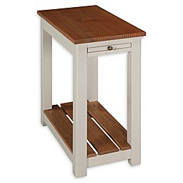 Alaterre Savannah Chairside End Table with Pull-Out Shelf in Ivory/Natural