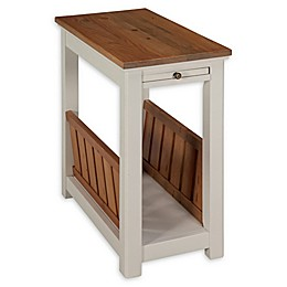 Alaterre Savannah Chairside Magazine Table with Pull-Out Shelf in Ivory/Natural