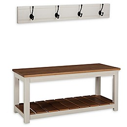 Alaterre Savannah Coat Hook with Bench Set in Ivory/Natural