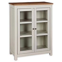 Alaterre Savannah Pie Safe Cabinet in Ivory/Natural
