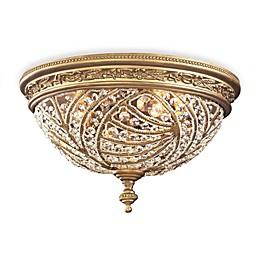 ELK Lighting Renaissance 2-Light Flush Mount in Dark Bronze and Crystal Accents