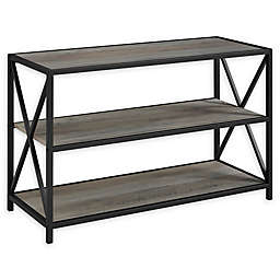 Forest Gate 40-Inch X-Frame Metal and Wood Bookshelf in Grey Wash