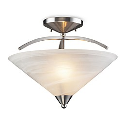 ELK Lighting Elysburg 2-Light Semi Flush Mount Satin Nickel with Marbelized White Glass