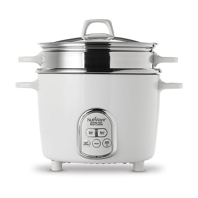 Alternate image 1 for NutriWare™ 14-Cup Digital Rice Cooker/Steamer in White/Stainless Steel
