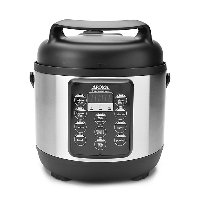 Alternate image 1 for Aroma® Professional™ 3 qt. Digital Pressure Cooker/Multi-Cooker in Black/Stainless Steel